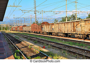 Rusty freight cars. Cuneo, Italy.