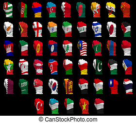 National flag fists of Asia - National flag fists of all...