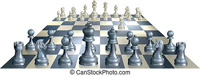 Game of chess illustration - A complete set of chess pieces...