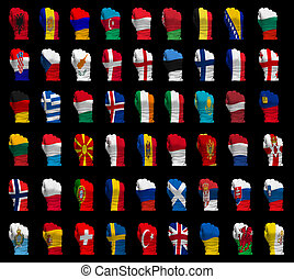 National flag fists of Europe - National flag fists of all...