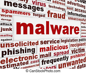 Malicious malware warning message. Spyware creative words...