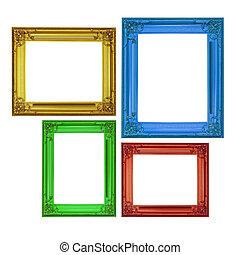 isolado, bordas, clássicas, estilo, Quatro, cores