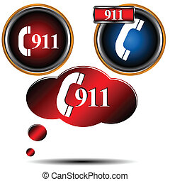 911 emergency set - 911 emergency icons on a white...