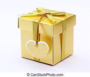 wedding gift, gold gift box