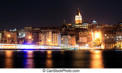 View of Istanbul and Galata tower and bridge at night