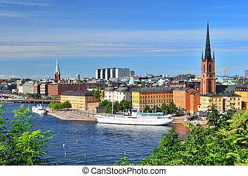 Stockholm, Island Riddarholmen - Stockholm, Sweden. View of...
