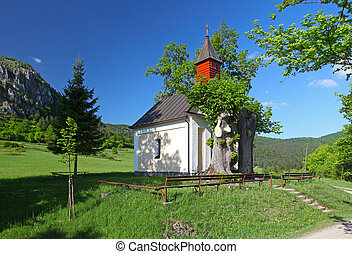 Autumn landcape with chapel in eastern europe - Slovakia