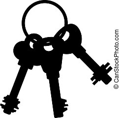Bunch of keys. Silhouette over white. EPS 10, AI, JPEG