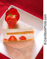 Strawberry Banana Caramel Cheesecake on Red Background