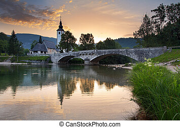 Ribicev Laz, touristic village on lake Bohinj in national...
