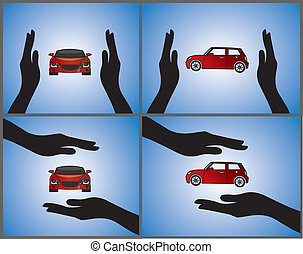Illustrations of a Car Insurance - four different...