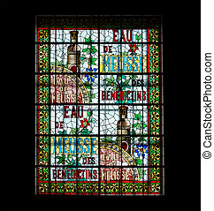Stained glass window Benedictine Palace Museum In Fecamp,...