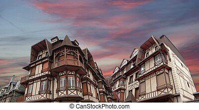 Stylized half-timbered house. Etretat, France. Etretat is a...