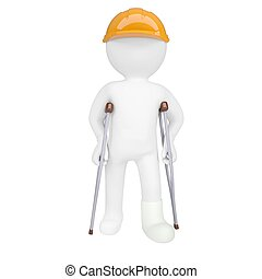 3d white man in a helmet and on crutches. Isolated 3d...