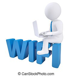 3d man with laptop sitting on the WIFI Isolated render on a...