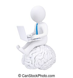 3d man with laptop sitting on the brain