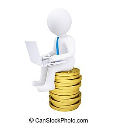 3d man with laptop sitting on a pile of gold coins