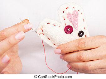 Handmade heart - Photo of white handmade heart-shaped soft...