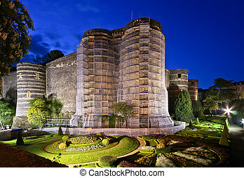 Exterior of Angers Castle at night , Angers city,...