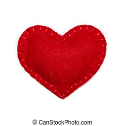 Felt heart - Small felt red heart isolated on a white...