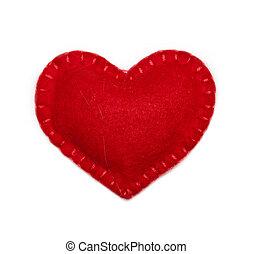 Felt heart - Small felt red heart isolated on a white...