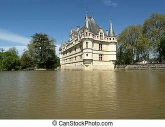 Chateau Azay-le-Rideau (was built from 1515 to 1527), Loire,...