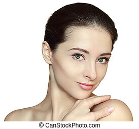 Beautiful woman with clean face holding hand on shoulder isolated on white. Natural makeup and clean skin concept