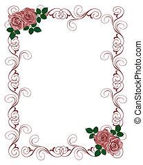 Ślub, zaproszenie, czerwony, Róże