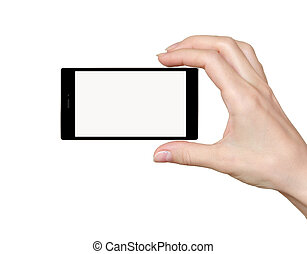 Hand holding phone with empty touch screen isolated on white background