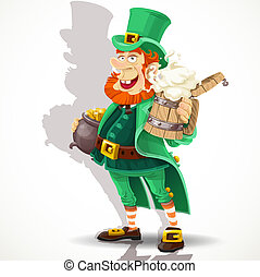 Leprechaun with beer and pot gold - Cute Leprechaun with...