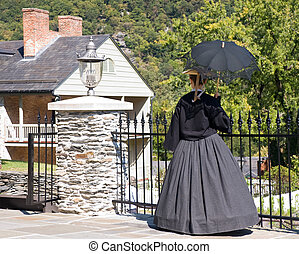Lady in period costume - 19th Century lady with parasol...