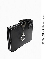 Attache case with attached handcuff - Attache case with...