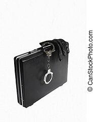 Attache case with attached handcuff - Attache case with...