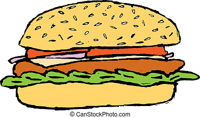 sketch of the hamburger with tomato, onion, cheese and...