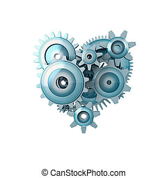 Perfect Work Gear Heart - 3D Illustration Perfect Work Gear...