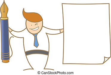 cartoon character of  man showing pen ad paper for signing document