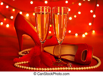 Valentine's day party - Photo of beautiful red romantic...