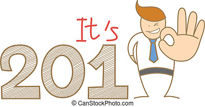 cartoon character of business man say ok to the year 2013