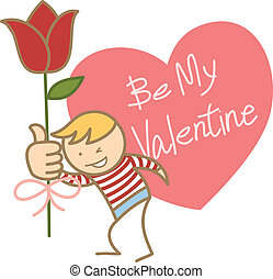 cartoon character of boy asking for his valentine
