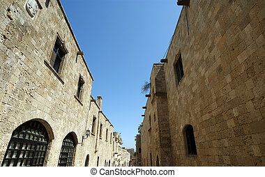 Medieval Avenue of the Knights, a cobblestone street in...