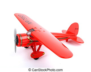 Toy Plane - Aeroplane, Red Plane in metal on white bagground