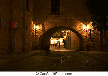 Medieval city walls in Rhodes town (night), Greece