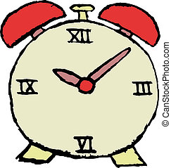 sketch of alarm clock in red color
