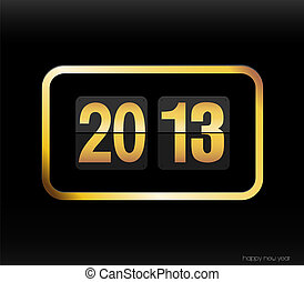 Flip clock with 2013 year.
