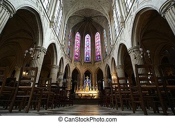 Interior,  saint-germain-l'auxerrois, igreja,  Paris, França