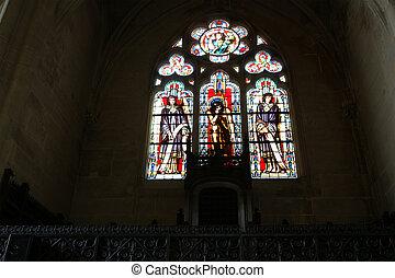 janelas, manchado, Paris, França, vidro, igreja,...