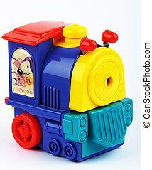 Toy train - Collorfull toy train closeup on white bagground