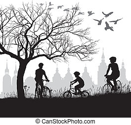 Family on bicycle trip out of town - vector illustration of...