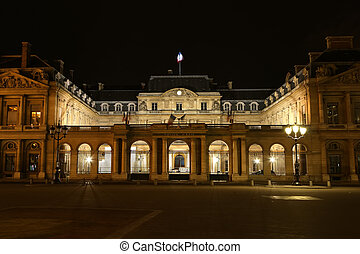 The historic center of Paris at night, France, central...