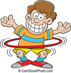 Cartoon boy with a hula hoop - Cartoon illustration of a boy...